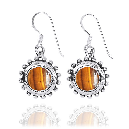 NEA3756-BRTE- Round Spiked Earrings with Tiger Eye Stones