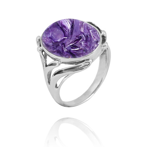 [NRB7477-CHR] Oval Shape Charoite Cocktail, Statement Ring