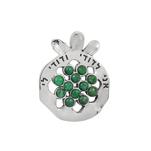 NP11908-CRY - Elegant Pomegranate   Silver Pendant with Chrysocolla  Pieces and