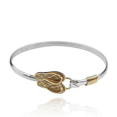 NB0785 - 18K  Gold Plated Nautical Bangle - Flip Flop Design
