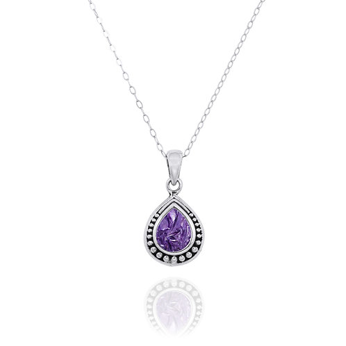 NP12366-CHR-  Drop Shape  Silver Pendant with a  Charoite Piece
