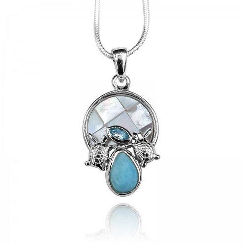[KPG23-LAR] Pear shape larimar , sea turtle , blue topaz , round mother of pearl