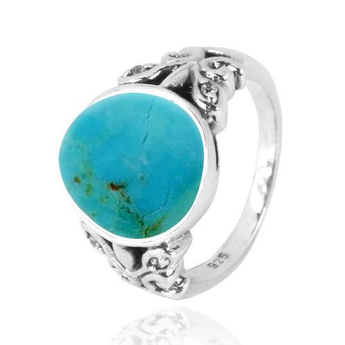 NRB5096-GRTQ - Elegant Nature Design Oval Turquoise Ring