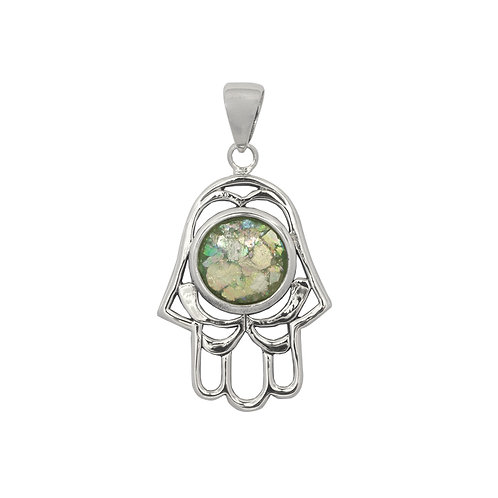 NP11839-RG -Sterling Silver Roman Glass Pendant - Gemstone Jewelry - Hamsa Hand