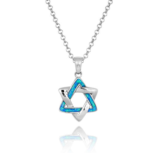 NP0524/OP - Elegant Star Of David Pendant with Synthetic blue Opal