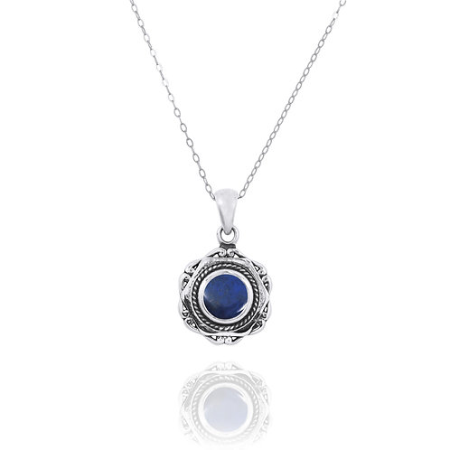 NP12359-LAP - Elegant Modern Silver Pendant with a Round Lapis Lazuli Piece