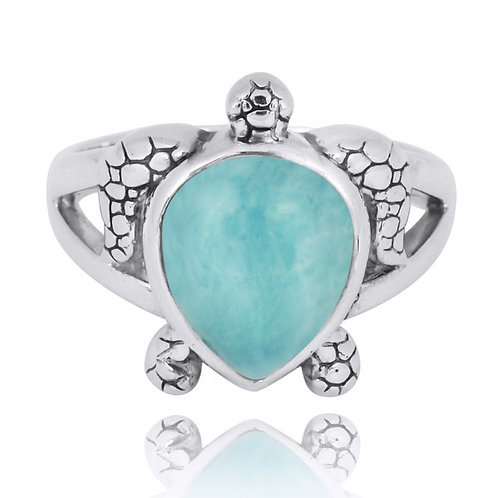 [NRB7224-LAR] Sterling Silver Turtle Ring with Teardrop Larimar  0 Review(s)