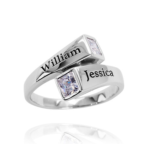 KRG10 - AN ELEGANT DUE COUPLE RING WITH NAMES ENGRAVED AND BIRTHSTONES