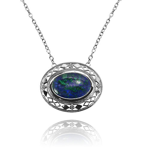 RSN0192-AZM - Sterling Silver Azurite Malachite Necklace - Gemstone Jewelry