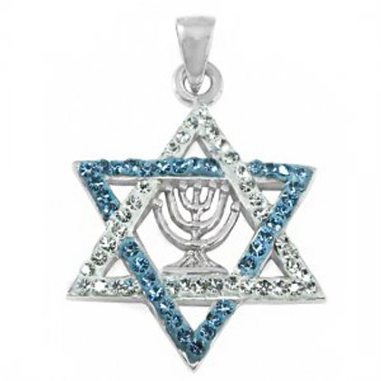 NP8284 -CZ - Star Of David Menorah Design , Blue and White IsraelFlag Colours