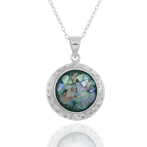 NP11724-RG - Sterling Silver Roman Glass Pendant - Gemstone Jewelry