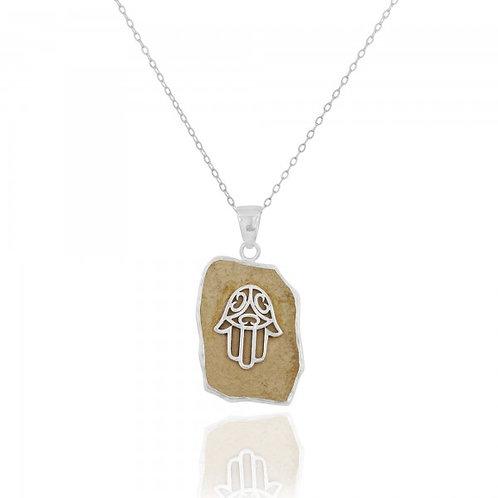 NP11641 - Hamsa Design Jerusalem stone pendant