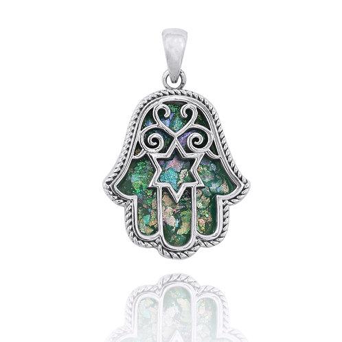 NP11837-RG - Elegant Hamsa Pendant with Star of David Design - Roman Glass