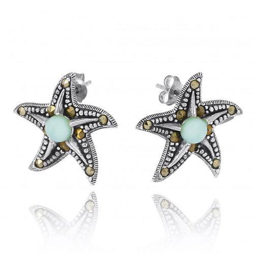 [NES3011-LAR-MRC] Starfish Stud Earrings with Larimar and Marcasite