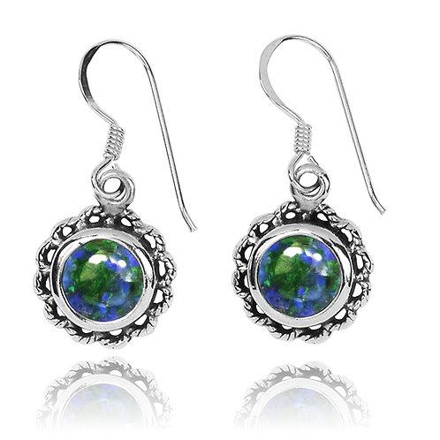 NEA3749-AZM-Flowery Earrings with Azurite Malachite