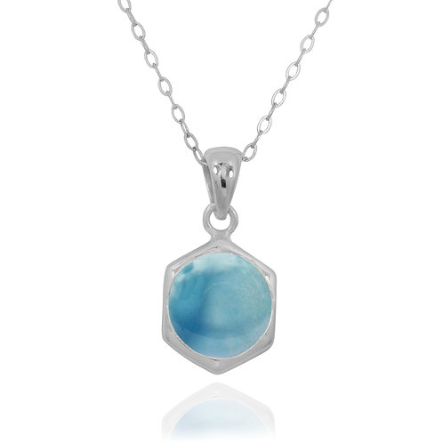 NP12232-LAR - Classic Silver Pendant with a Round Larimar Piece