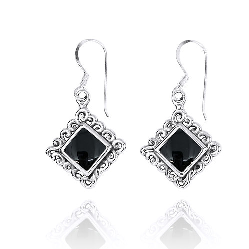NEA3758-BKON -Elegant Ethnic Style Earrings with Black Onyx