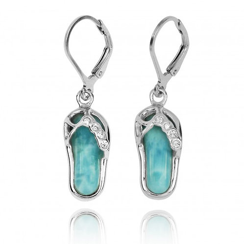 [NEA3255-LAR-CRS] Sterling Silver Sandal Lobster Clasp Earrings with Larimar and