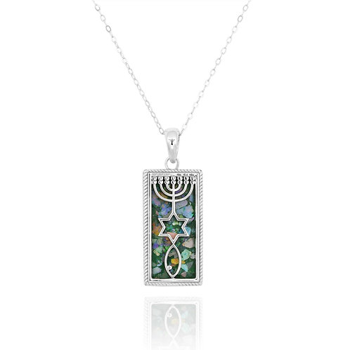 NP11886-RG-Classic Messianic Menorah\star\fish pendant with Roman Glass