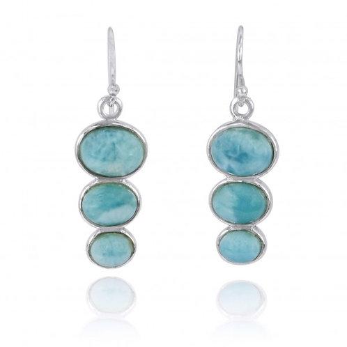 [NEA0331-LAR] Triple Oval Larimar Sterling Silver Drop Earrings