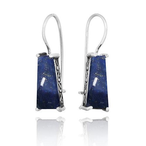 [NEA1496-LAP] Trapezoid Shape Lapis Lazuli Lever Back Earrings