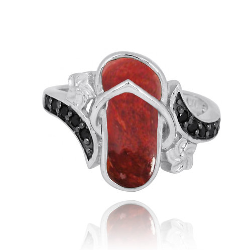 [NRB8365-SPC] Sterling Silver Sandal Ring with Sponge Coral and Black Spinel