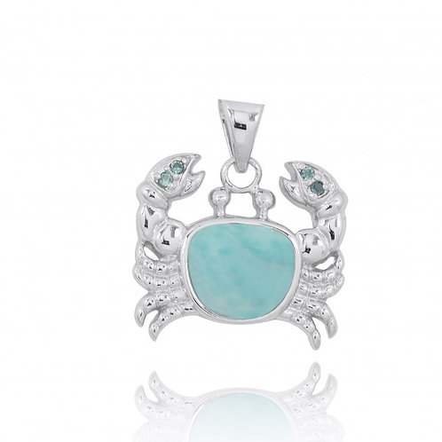 [NP10742-LAR-LBLT] Sterling Silver Crab Pendant with Larimar and London Blue
