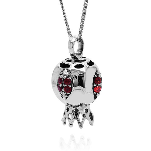 NP12168-GAR - The Israeli Pomegranate pendant -Garnets in the middle