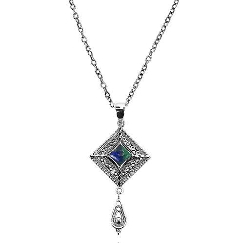 RSP1970-AZM-S - Sterlin Silver Azurite Malachite Necklace - Gemstone Jewelry