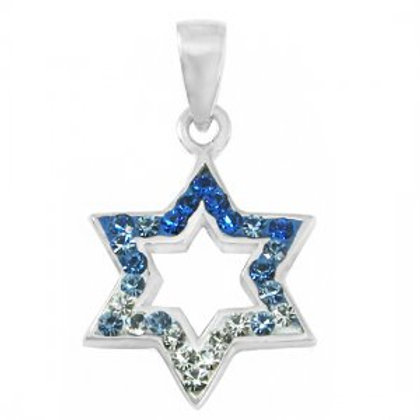 NP8277 - Classic Blue and White CrystalsStar of David Pendant