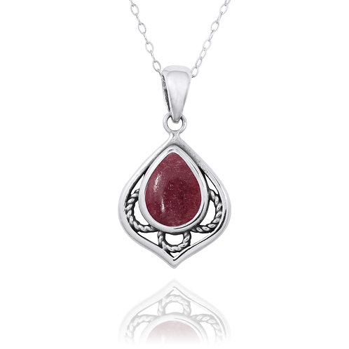 NP12218-RDN -  Elegant Silver Pendant with a Pear Shape Rhodonite Piece