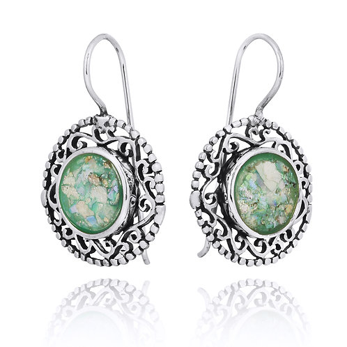 NEA2520-RG - Ethnic Style Roman Glass Earrings