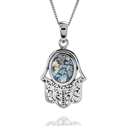 NP12254-RG - Elegant Hamsa Pendant with Roman Glass
