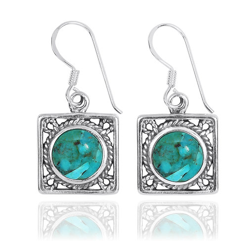 NEA3759-GRTQ - Elegant Square Earring - Rope Design with Turquoise  Stones