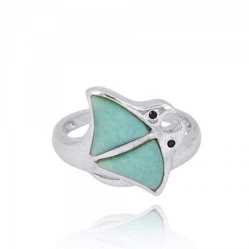 [NRB8363-LAR-BKSP] Sterling Silver Stingray Ring with Larimar and Black Spinel