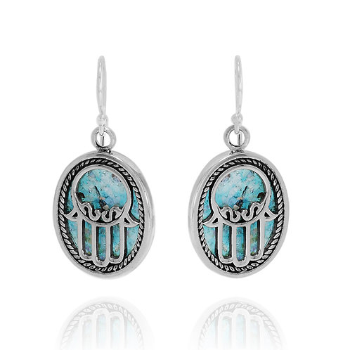 RSE1250-RG - Elegant Hamsa Earrings with Roman Glass