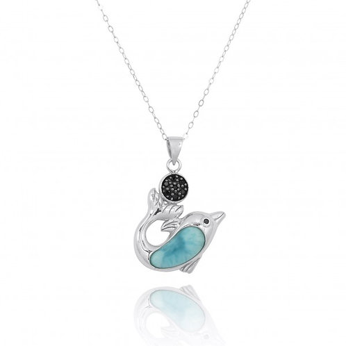 [NP11308-LAR-BKSP] Sterling Silver Dolphin with Larimar and Black Spinel Pendant