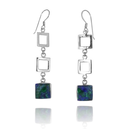 NEA2521-AZM - a Unique dangling Earrings with Azurite Malachite