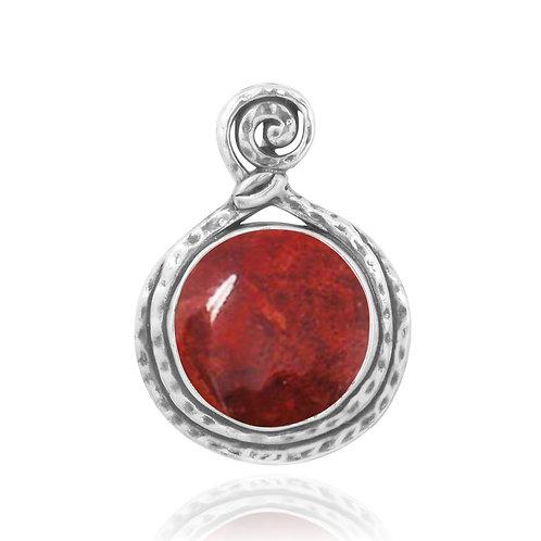 NP11567-SPC - Elegant big and Round pendant with Sponge Coral