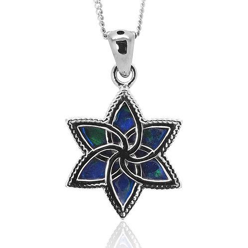 NP12276-AZM - Sterling Silver Azurite Malachite Pendant - Gemstone Jewelry