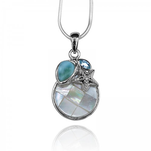 [KPG20-LAR] Pear shape larimar with blue topaz , star fish and round mohter of p