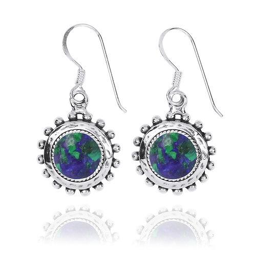 NEA3756-AZM - Round Spiked Earrings with Azurite Malachite