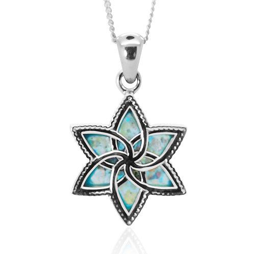 NP12276-RG - Flower Star of David Roman Glass Pendant