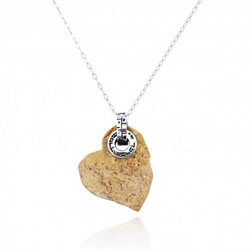 NP11967-JRSL - Heart Shape Jerusalem Stone Pendant