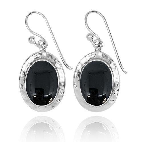 NEA3724-BKON - Oval Classic Earrings with Black Onyx