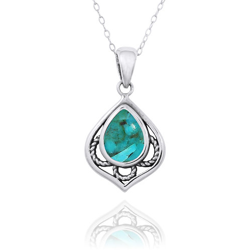 NP12218-GRTQ -  Elegant Silver Pendant with a Pear Shape Turquoise Piece
