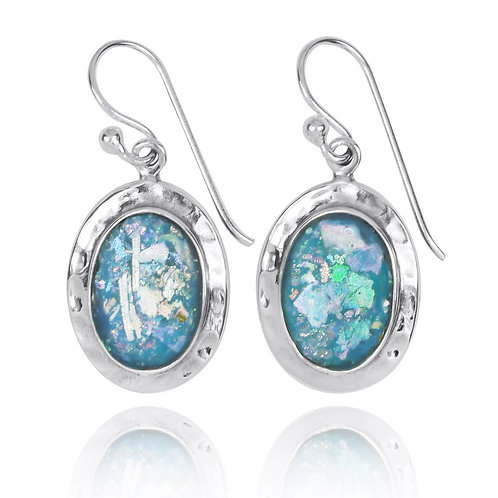 NEA3724-RG -Classic Oval Roman Glass Earrings