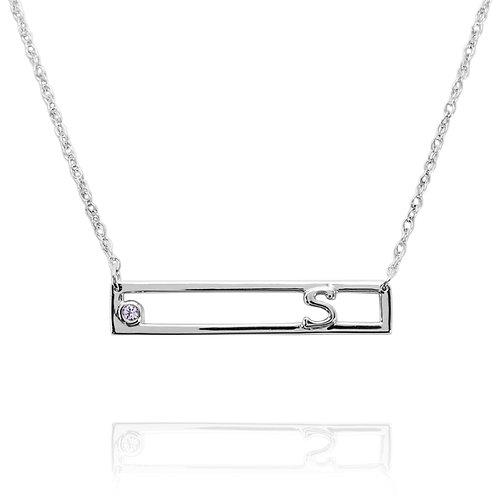 KNM2 - A CLASSIC PERSONALIZED SILVER BAR WITH INITIAL AND BIRTHSTONE