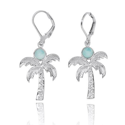 NEA3320-LAR-WHT - Elegant Palm Tree Earrings with Larimar and White Topaz