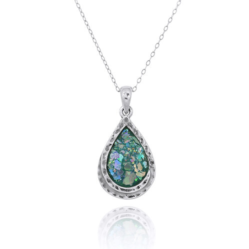 NP11589-RG -Pear Shape Roman Glass Contemporary Hand Made Style